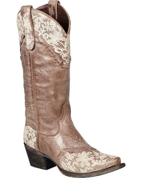 Lane Jeni Lace Embroidered Cowgirl Boots - Snip Toe. I need these…hahaha!