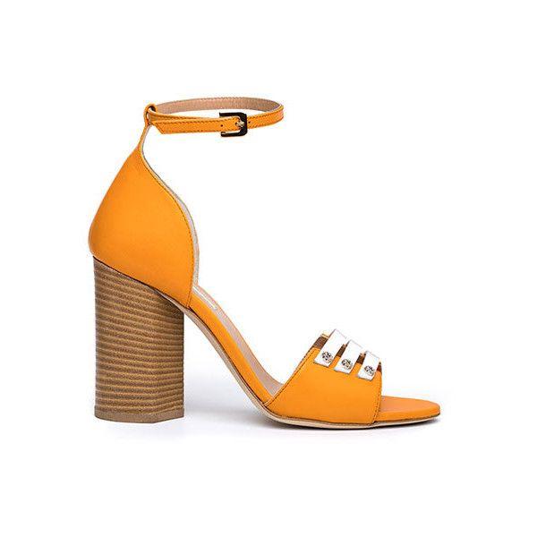 ARISU ($205) ❤ liked on Polyvore featuring shoes, sandals, orange shoes, orange heeled sandals, ankle strap shoes, block heel sandals and orange sandals
