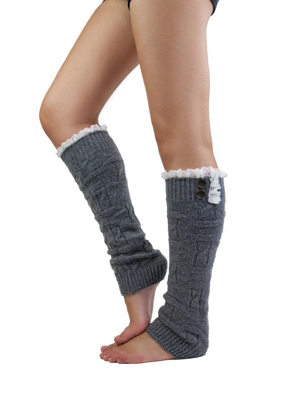 GRAY LEG WARMER boot socks grey boot socks with by gertiebaxter, $32.50