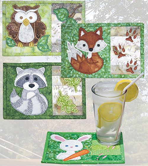 """Adorable mug rugs to decorate your home! This pattern features 4 fast and fun """"in-the-hoop"""" embroidery and sewing projects that are great for gifts and"""