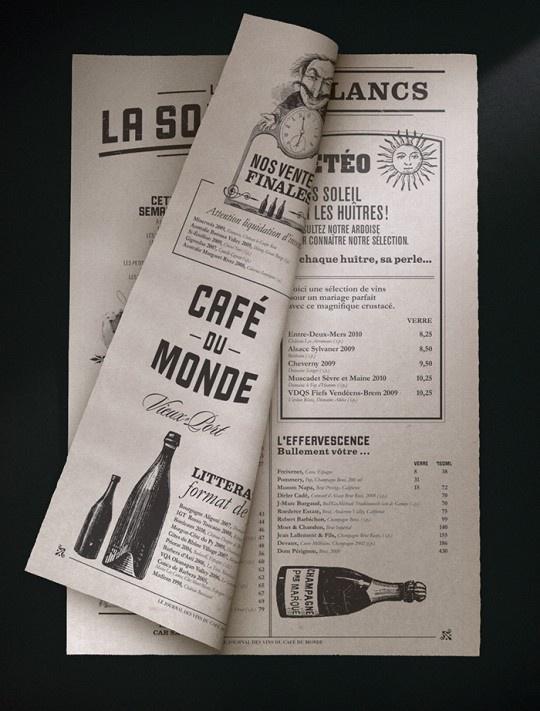 Wonderful branding for Café Du Monde by studio lg2 Boutique - interesting newspaper idea