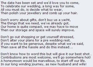 Wedding Gift Poems Asking For Money Towards Honeymoon : Poem asking politely for cash towards the honeymoon instead of gifts ...