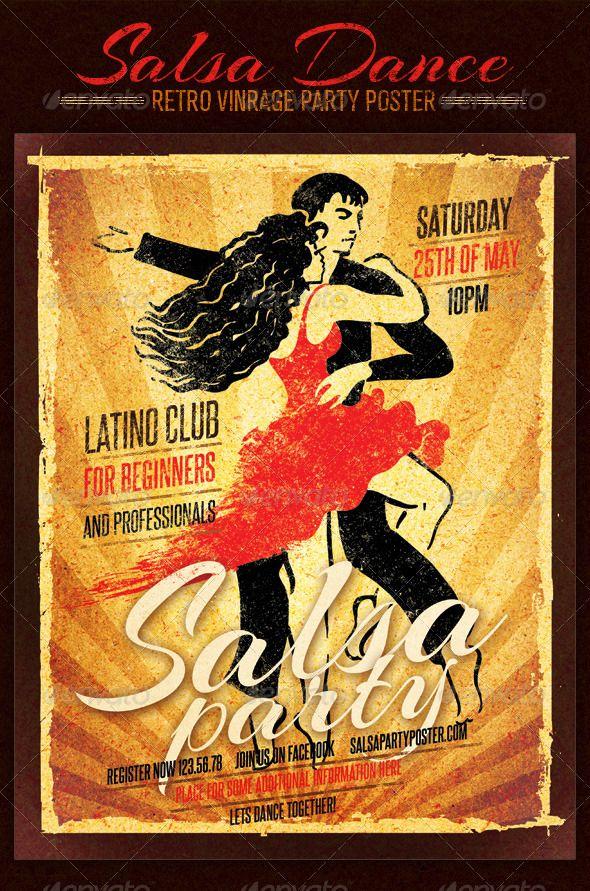 Salsa Dance Club Retro Vintage Party Poster - Retro/Vintage Business Cards