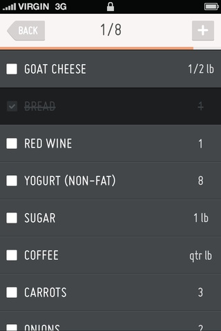 Grocery list app concept
