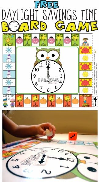 Free Daylight Savings Time Board Game from Totschooling
