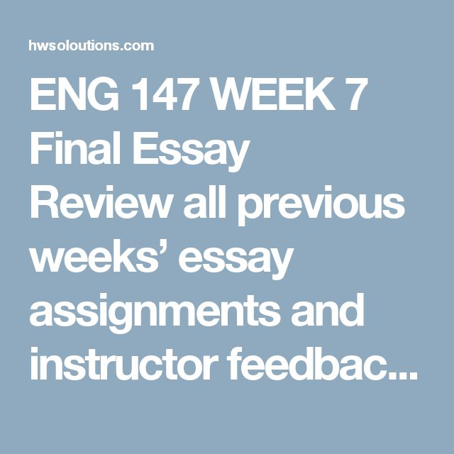 ENG 147 WEEK 7 Final Essay Reviewall previous weeks' essay assignments and instructor feedback.  Reviewsections 17c and 17d from Ch. 17 ofThe Bedford Researcherfor editing tips.  Writea 700- to 1,050-word essay (not counting title or reference page material) about the topic of your choice. Incorporate at least two research sources.  Usethe APA Final Paper Template (located under theMaterialsheading to your right)to help format your final paper in APA format. You will combine your…