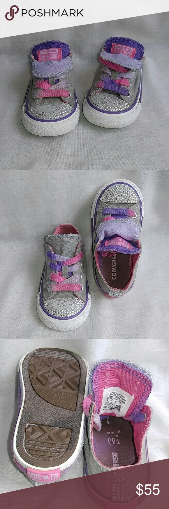 Toddler Custom Made Converse with Rhinestones I made these adorable converse all stars for my daughter's 2nd birthday. Converse Shoes Sneakers