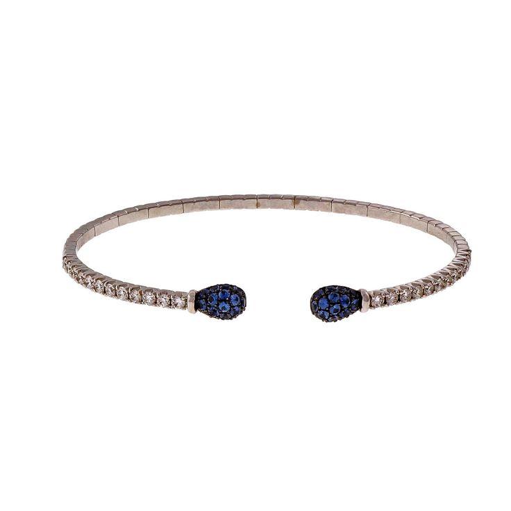 Spark Designer 18k White Gold Diamond Sapphire Cuff Bracelet - petersuchyjewelers