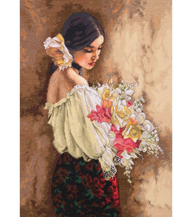 Dimensions Gold Collection Woman With Bouquet Counted Cross Stitch Kit