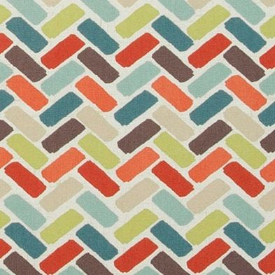 Contemporary Orange Geometric Fabric  Aqua by PopDecorFabrics