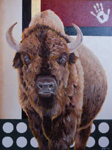 "Janice Tanton IINII SKIIM (BUFFALO-SHE) / Canada House Gallery - oil, linen, 22K gold leaf 48"" x 36"""
