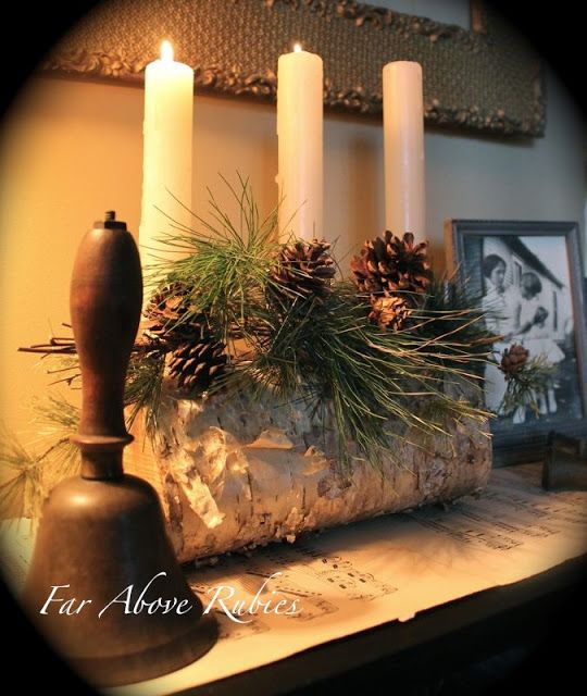 """Far Above Rubies: A Very Vintage Christmas ~""""My grandfather's bell rests next to a yule log -made from birch"""""""