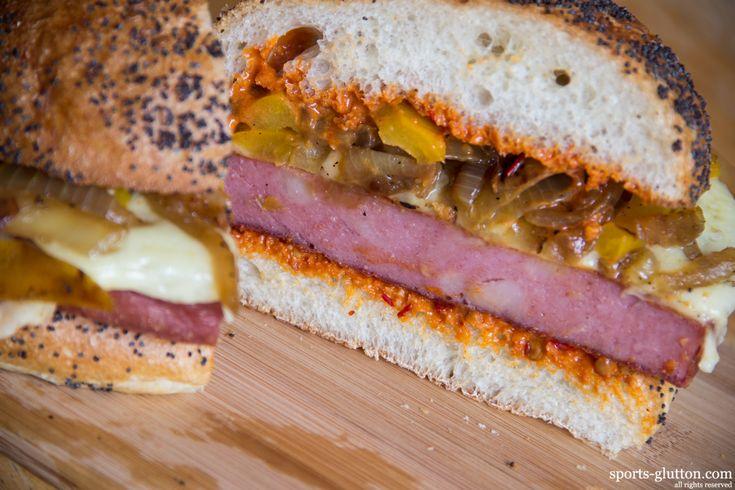 Cincinnati Reds: Fried Mortadella Sandwich w/ Peppers, Onions, & Chipotle Aioli