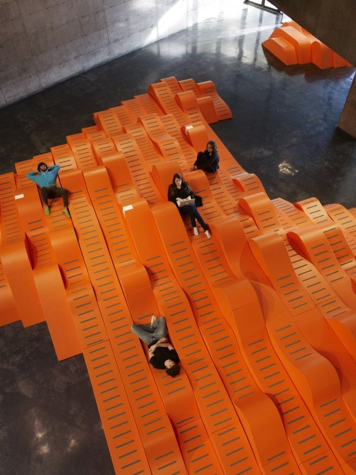 Seriously cool social seating... They even integrated outlets for laptops, @ the Berkeley Art Museum