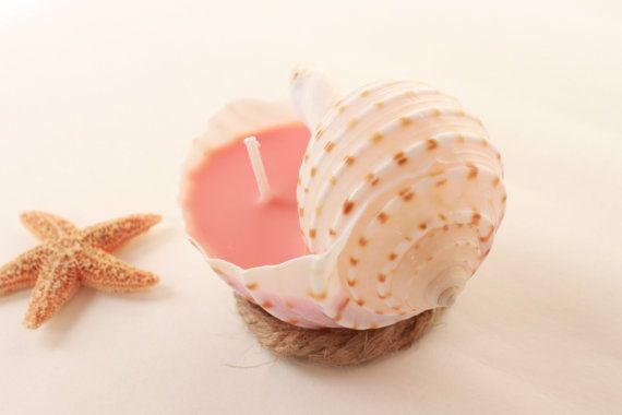 Beach Wedding Favor Coral Soy Candle in by BeachWeddingsByBree
