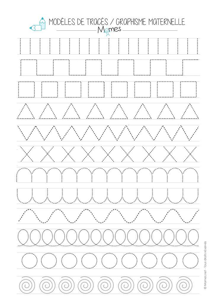 Modèles de Graphisme en pointillé maternelle