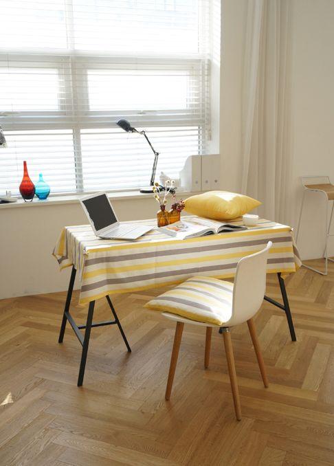 [바보사랑] 봄햇살을 닮은 식탁보 /화사함/스트라이프/패브릭/테이블보/예쁜테이블보/홈스타일링/홈데코/Bright/Stripe/fabric/Tablecloths/Decorations