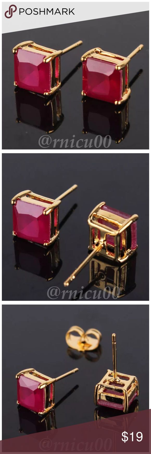 Listing! Ruby 24K Gold Filled Stud Earrings! Restock! Gorgeous Ruby Square Stud Earrings in 24K Gold Filling! Buy for yourself or make a Beautiful Gift!  * Earring Size: 15X7 mm * Gem: Ruby * Gem Size: 7mm * Metal: 24K Yellow Gold Filled (Please see listing re: Difference bet. Gold filled & Plated) * Gram Weight: 2.3g * Will be shipped in Jewelry Box  *NO TRADES *Prices are FIRM-Listed at Lowest Price Unless BUNDLED! *Sales are Final-Please Read Descriptions! Boutique Jewelry Earrings
