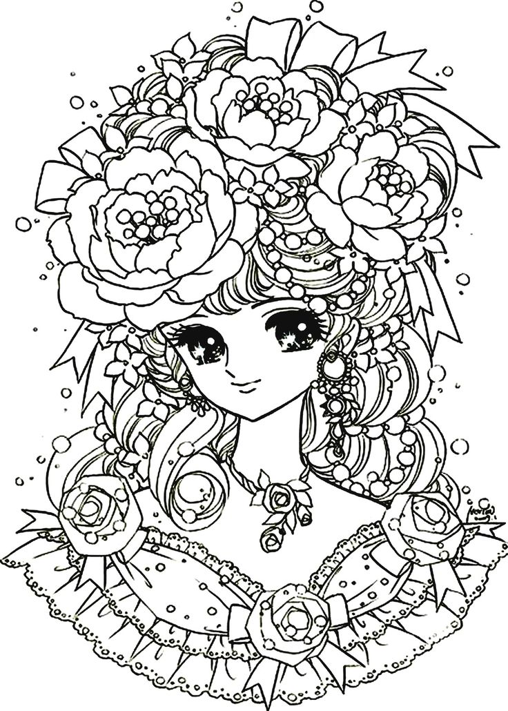 Free coloring page coloring-adult-back-to-childhood-manga-girl-flowers. coloring-adult-back-to-childhood-manga-girl-flowers