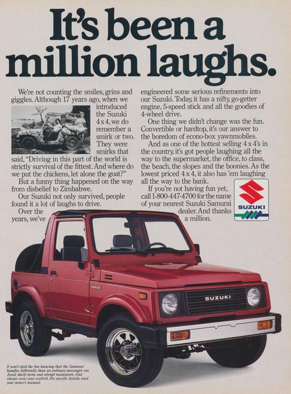 1988 Suzuki Samurai 4 X 4 Vintage Ad Print Wall Art Garage Suzuki Samurai Suzuki Vintage Ads
