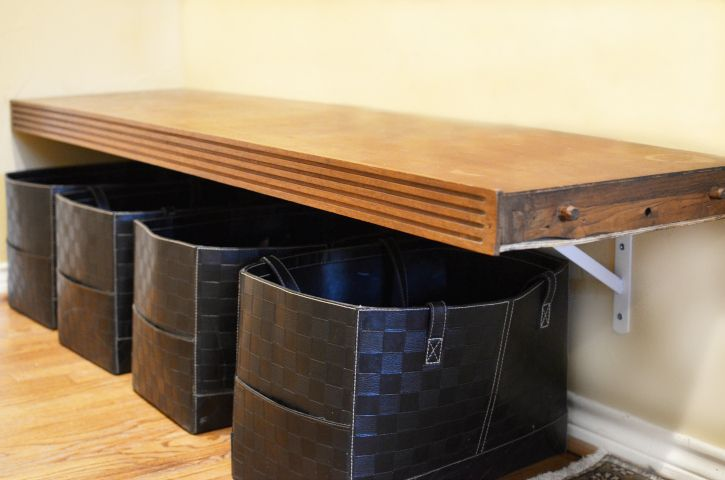 Bench and shoe storage idea Remodelaholic   Top Ten Shoe Storage Ideas and Link Party
