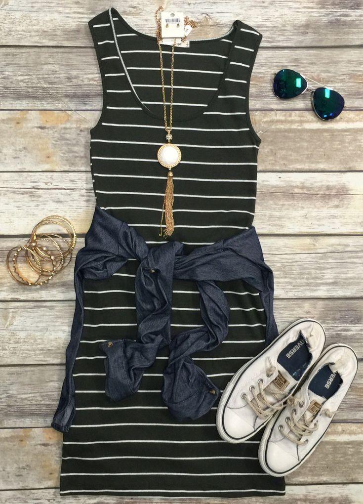 Ribbed Striped Tank Dress: Olive