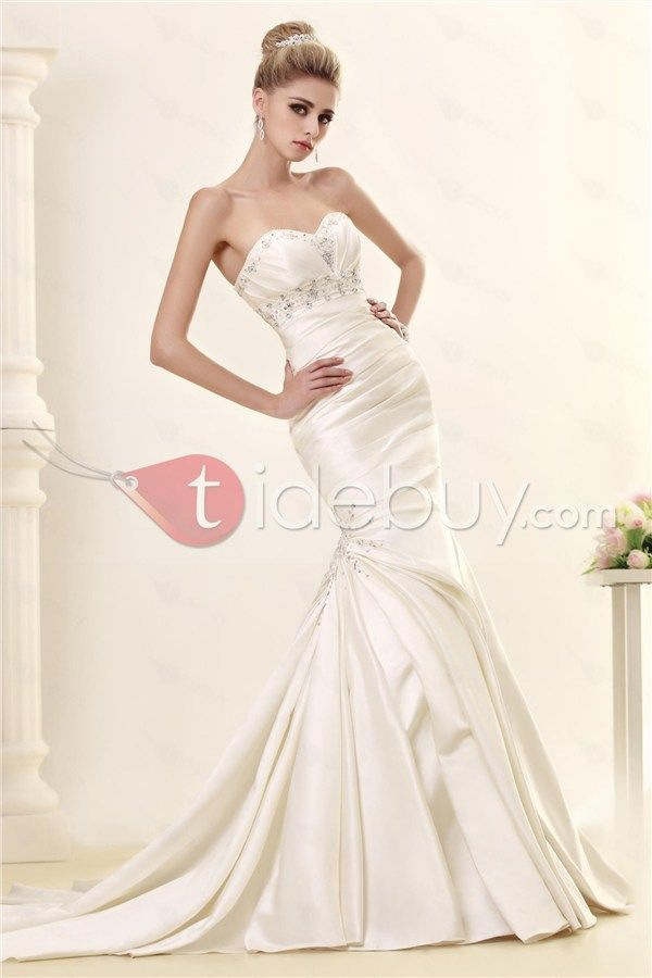Sumptuous Trumpet/Mermaid Sweetheart Chapel Dasha's Wedding Dress with Beadings