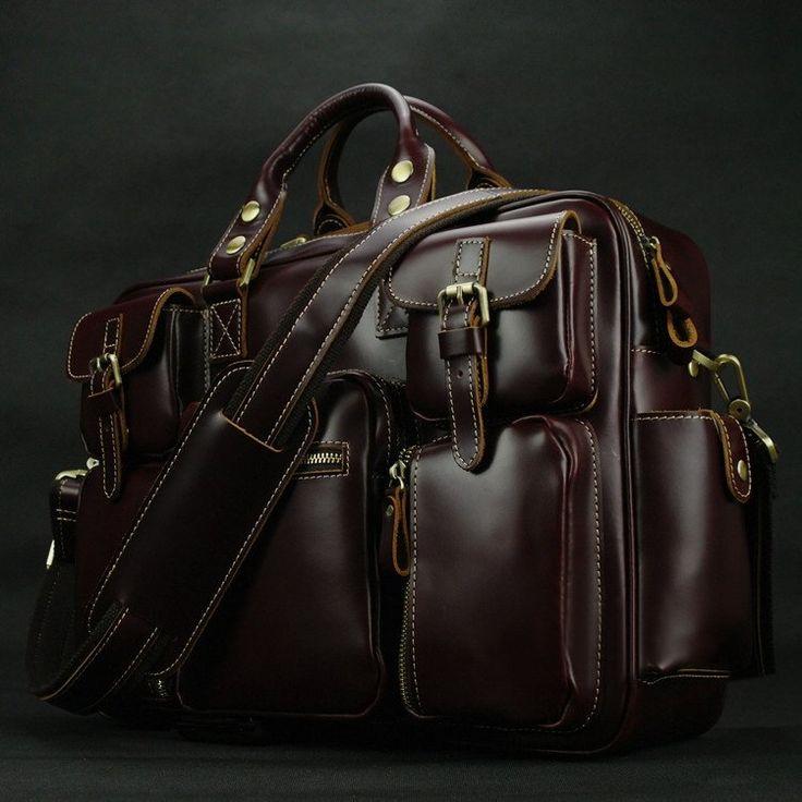 Image of Top Grade Cowhide Leather Men's Briefcase Laptop Bag Dispatch Shoulder Huge Duffle--FREE SHIPPING