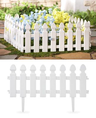 White Picket Fence Garden Border 4 PC Set: small area next to the main picket fence for flowers the rabbits won't get to....