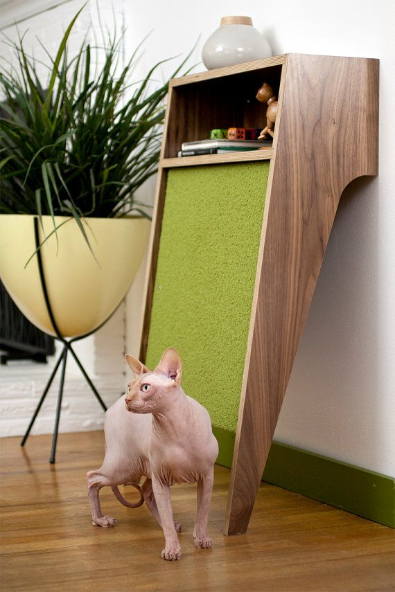 "This is the coolest thing, ever! Saves the furniture, matches the color scheme, takes up very little room ... Definitely someone's ""aha"" moment. Mid Century Modern Pet Furniture // Cat Scratcher by modernistcat"