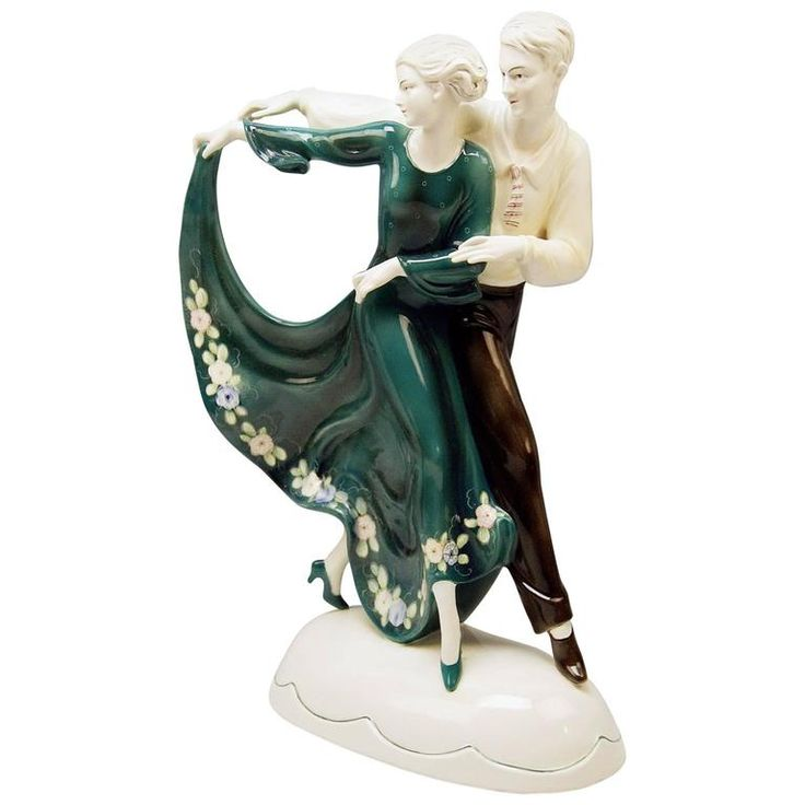 Katzhuette Dancing Couple Thuringia Germany Art Deco Goldscheider Style c.1930 1