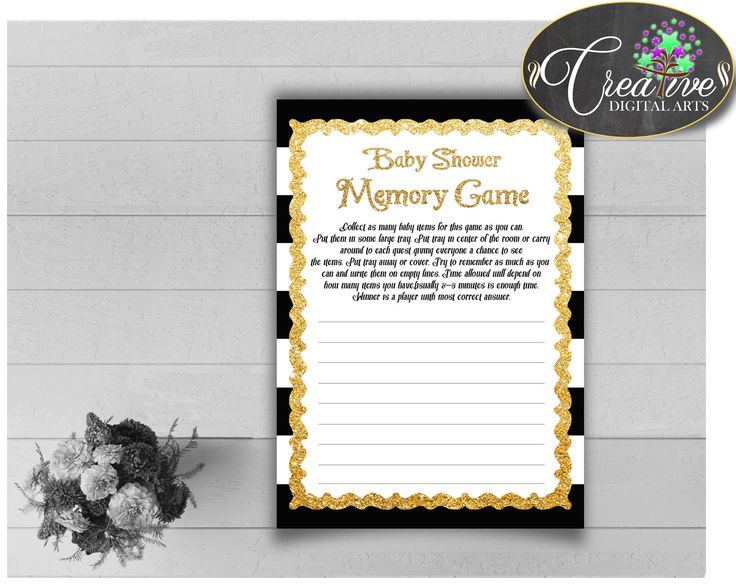 Our new product: Baby Shower MEMOR.... Check it out here: http://snoopy-online.myshopify.com/products/baby-shower-memory-game-with-black-white-strips-color-theme-printable-glitter-gold-digital-file-jpg-pdf-instant-download-bs001