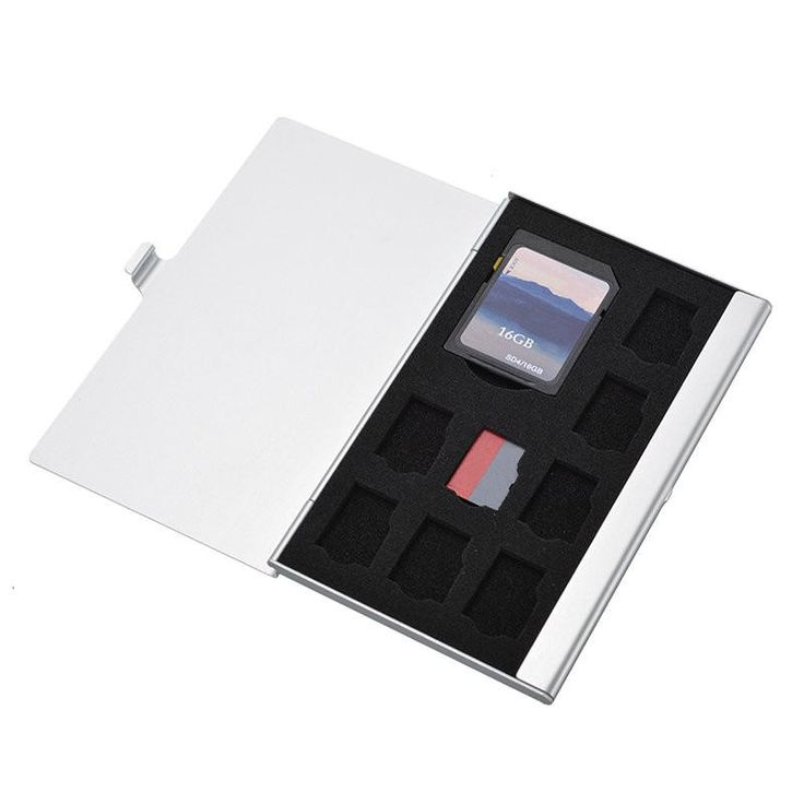 9 In 1 Portable Aluminum Alloy EVA Memory Card Storage Box For 1 TF 8 SD SDHC Holder Case Bag