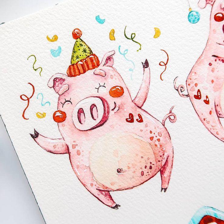 рисунок новогодней свинки открытка чего