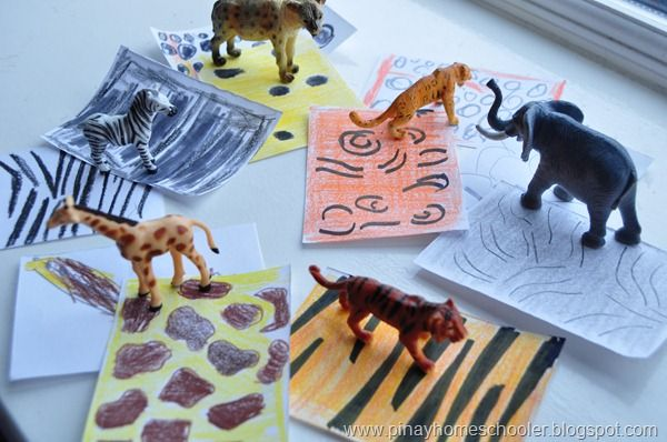 Animal skin prints - fun to draw matching (pinayhomeschooler)
