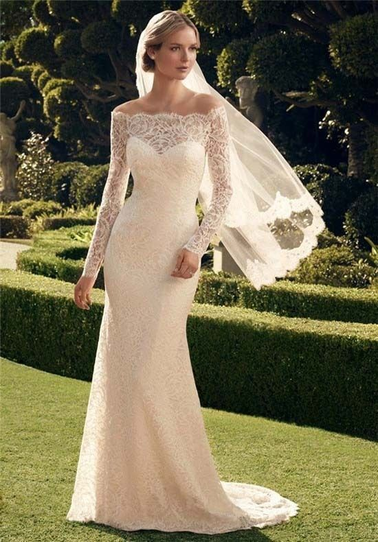 Off Shoulder Lace Wedding Dresses Form-Fitting