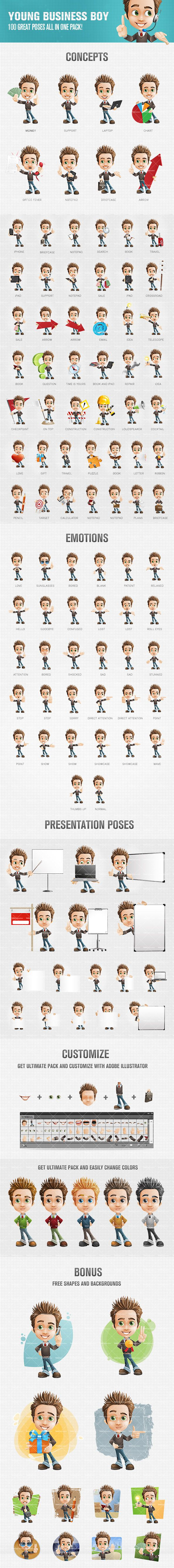 Young business boy cartoon character made in 100 poses and moods. Our set here could be used on any kind of design related projects, no matter if they are personal or commercial. We assure you that he will present them in welcome and attractive way. Continue reading →