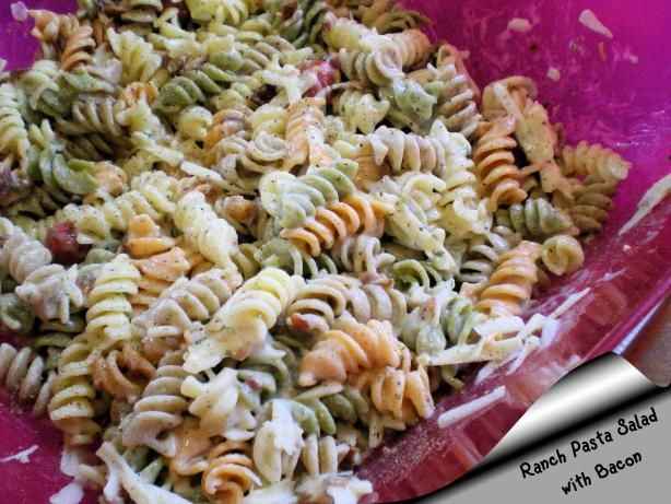 "Ranch Pasta Salad With Bacon: ""This is good! My husband asked 'Is this fattening?' I was like WHY? because that has never been a concern. He said 'Because I want to eat a whole plate of this.'"" -Chef #587756"