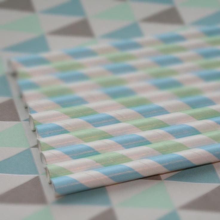 #cool #retro #pattern #stripes #straws #paperstraws #partydesign #papirsugerør #sugerør #mønster #pastel #blue #green