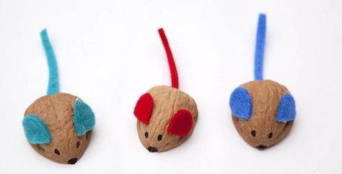 Place a marble under each walnut mouse and place on a slope for 'racing mice'. Genius, yet simple idea!