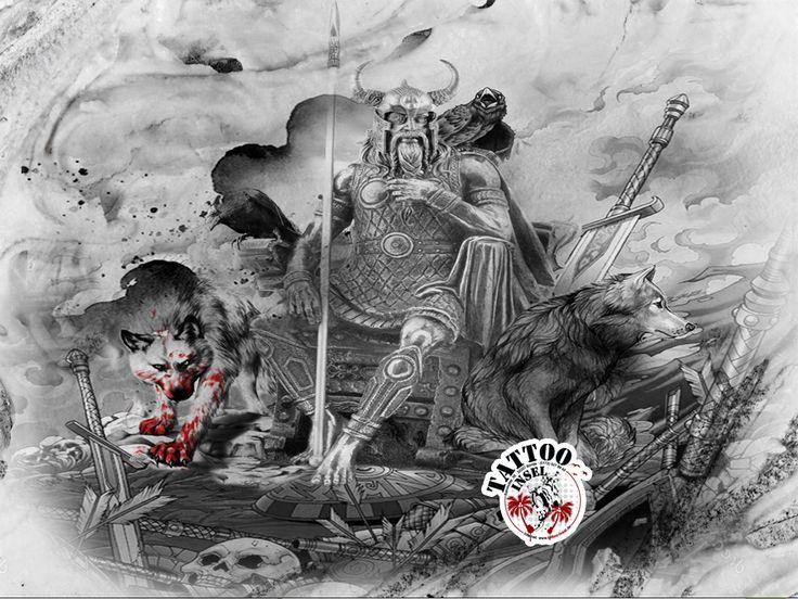 Odin wölfe nordische Mythologie raben Tattoo Motive der Tattoo Insel