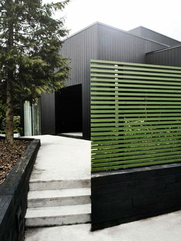 Moderne Garten Ideen Sichtschutz Schwarzes Holz Grun