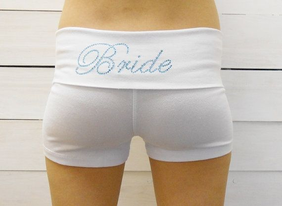 Bride Yoga Shorts. Fitted Shorts.  Bridal Party. by BrideBikini