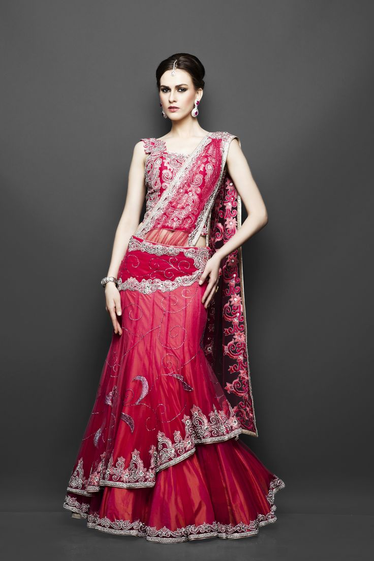 Bridal red pre-stitched sari