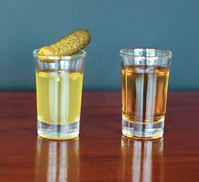 Pickle Back Shots!   shot of whiskey or tequila  + shot of pickle juice