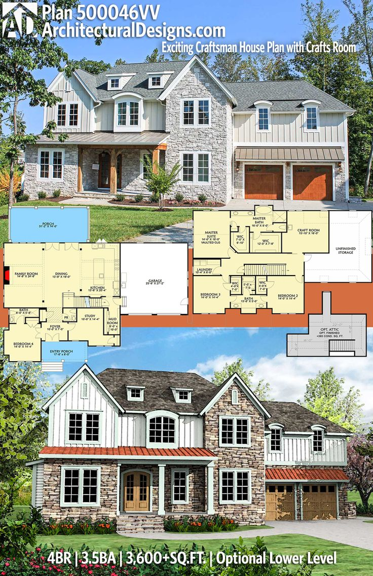 Plan 500046VV Exciting Craftsman House Plan with