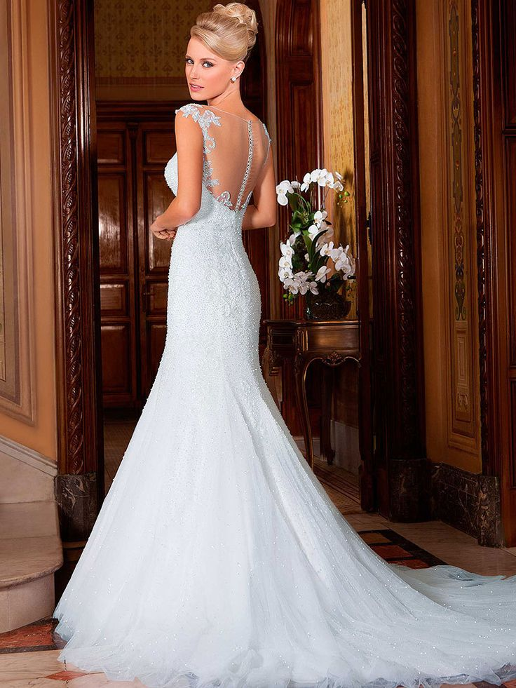 Vestido De Noiva Sheath Floor Length Appliques Tulle Csutomize Lace Elegant Wedding Dress Custom Made in china