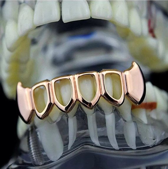 Rose Gold Plated Bottom Fang Grillz