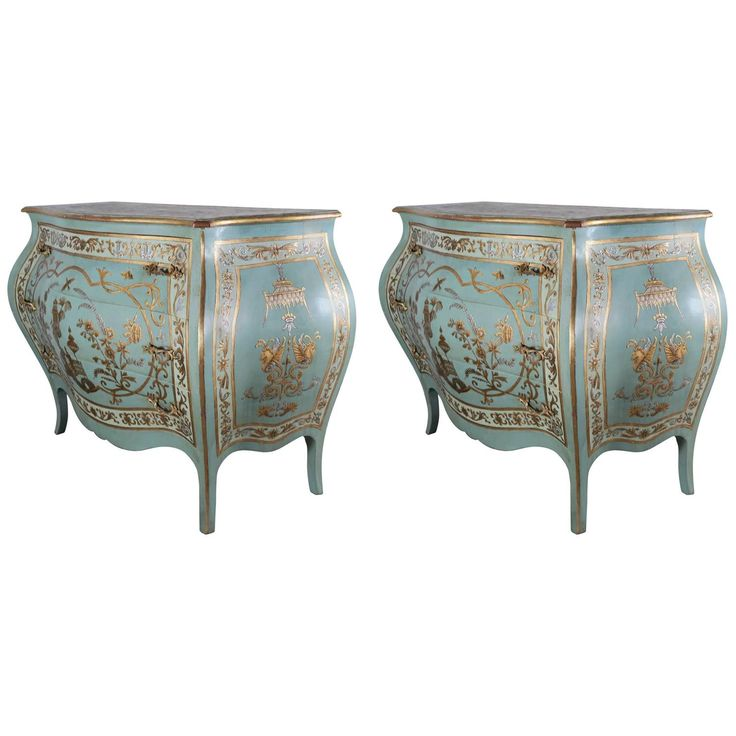 ~ Pair of Blue Chinoiserie Painted Bombay Commodes ~ 1stdibs.com
