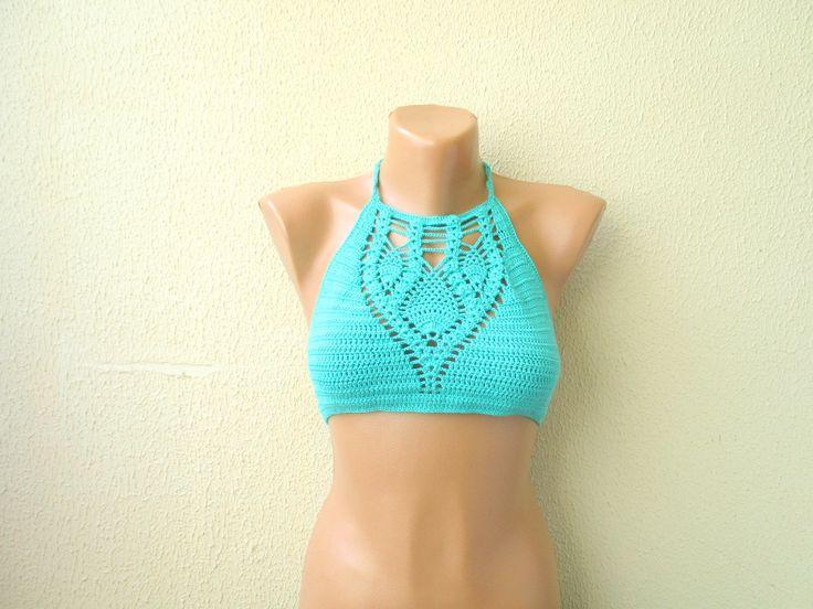 Crochet bustier, Bohemian crochet bikini, Summerwear, Brazilian bikini, Hippie style top, Crochet sexy bra, Bikini top,Swimsuit, Halter Top by ElifsglintyShop on Etsy